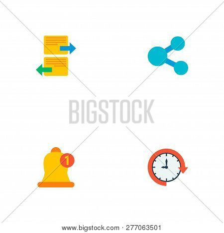 Set Of Task Manager Icons Flat Style Symbols With Share, Arrange Task, Postpone And Other Icons For