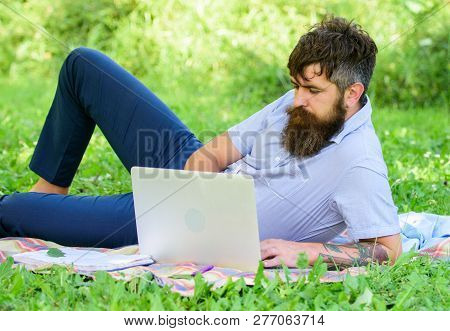 Looking For Inspiration. Man Bearded With Laptop Relaxing Meadow Nature Background. Writer Looking F