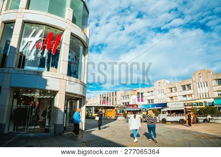 Brighton, England-6 October,2018: The Front And The Entrance Of Brighton Churchill Square The Top Sh