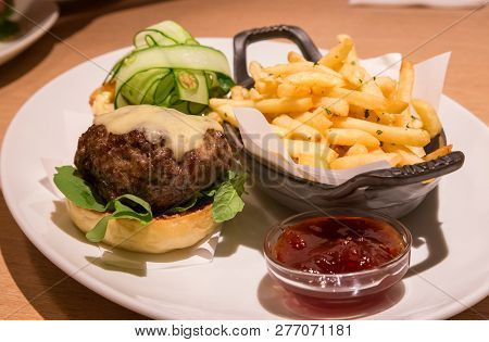 Delicious Wagyu Beef Burger With French Fried And Sauce