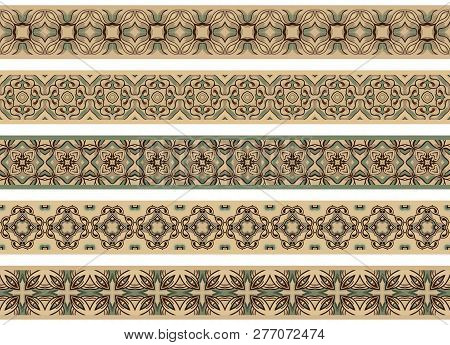 Set Of Five Illustrated Decorative Borders Made Of Abstract Elements In Beige, Gray, Brown, Turqoise