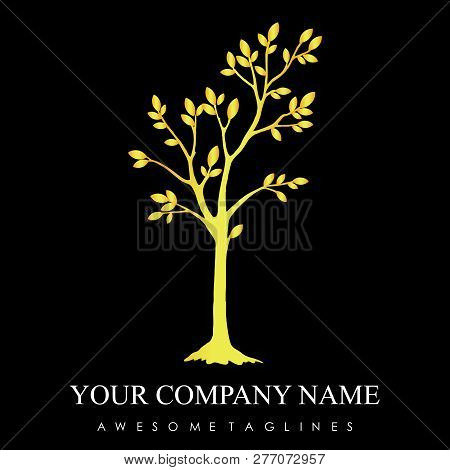 Luxury Gold Tree With Leaves Logo. Herbal Leaf , Ecology, Natural, Organic Label Or Logo, Tree Vecto