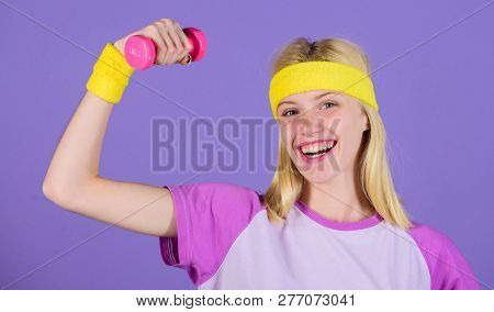 Vintage Sport Concept. Woman Exercising With Dumbbells. Easy Exercises With Dumbbells. Workout With