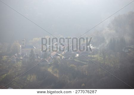 View From The Castle Hill To The Village Szarvasko Near Eger, Hungary. Foggy Day