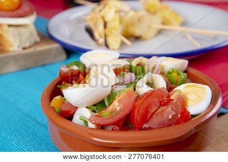 Tapas Or Antipasto Food. Salad In Bowl