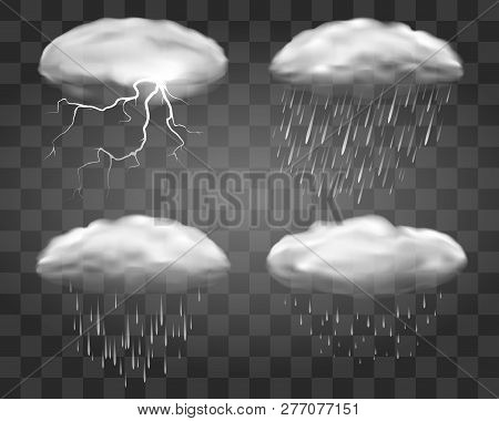 Realistic Rain Clouds On Transparent Background. Fall Weather Eddy Clouds, Vector 3d Rainstorm Cloud