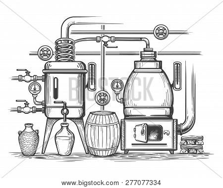 Distillery Sketch. Retro Stillness Gin Or Whiskey Alcohol Distillation Making Equipment, Whisky Moon