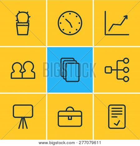 Vector illustration of 9 bureau icons line style. Editable set of graph, structure, data and other icon elements. poster
