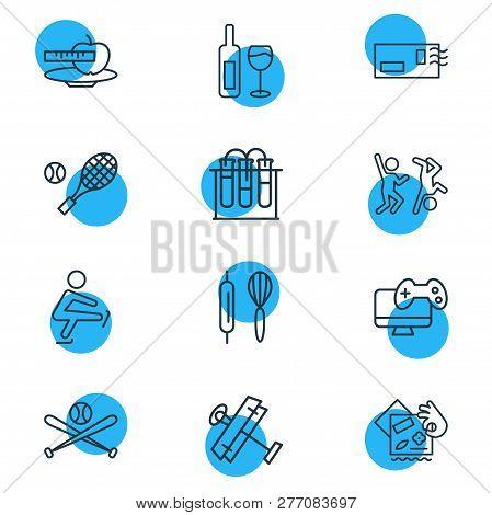 Vector Illustration Of 12 Entertainment Icons Line Style. Editable Set Of Chemistry, Baking, Aeromod