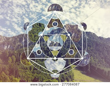 Abstract Meditative Collage With The Image Of The Mountain Landscape And The Sacred Geometry Symbol.