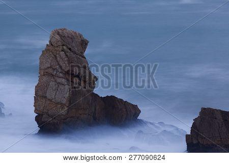 Rocks In The Arnia Beach, Liencres, Cantabria, Spain