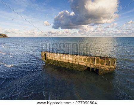 Artificial Port Of Arromanches Les Bains, Normandy, France