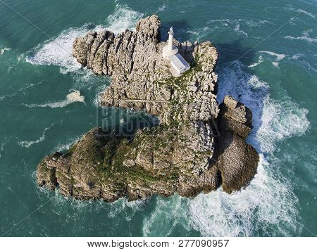 View Of The Mouro Island In Santander, Cantabria, Spain