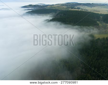 Fog In Orcines In The Puy-de-dome, Auvergne-rhone-alpes, France