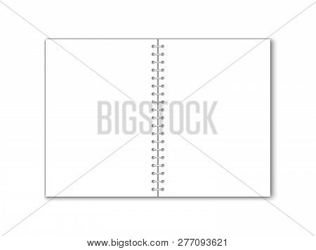 Detailed Vector Blank Paper Notebook With Circular Binding.
