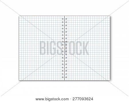 Detailed Vector Square Paper Notebook With Circular Binding.