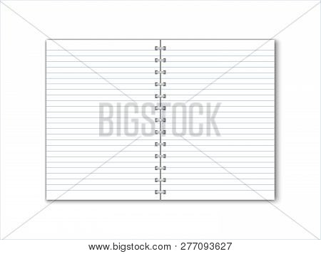 Detailed Vector Paper Notebook With Lines And Circular Binding.