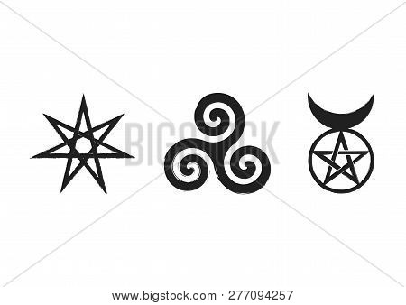 Set of Witches runes, wiccan divination symbols. The Elven star or the Seven-pointed Star, the Triskele or Triskelion, the Horned God. Ancient occult symbols, isolated on white. Vector illustration. poster