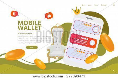 Cash App Mobile Wallet Vector Illustration. Nfc Or Mobile Wallet Poster Or Online Payments Technolog