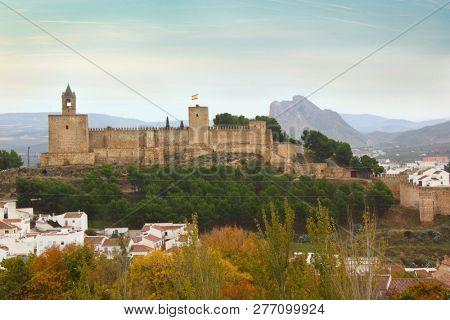 Alcazaba of Antequera with mountain Pena de los Enamorados in Spain
