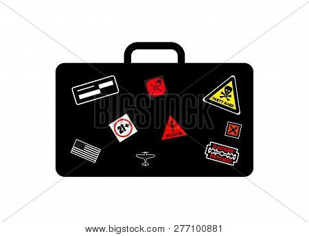 Flammable Attention Vector Sign Sticker Isolated On White Background