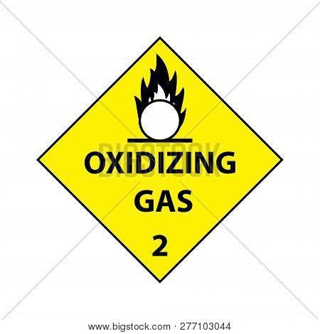 Oxidizing Gas Sticker Level 2  Isolated On White Background