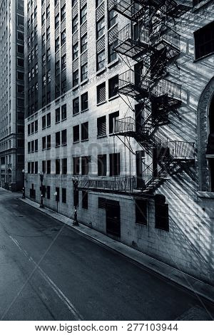 Black And White View Of Chicago Street In The Morning, Usa