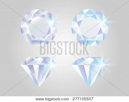Diamond Set. Realistic Jewels Isolated On White Background. Shimmer Stones Top View. Luxury Elements