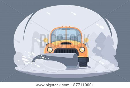 Process Of Snow Removal From Road. Pick Up Truck With Snowplow. Winter Highway Service.