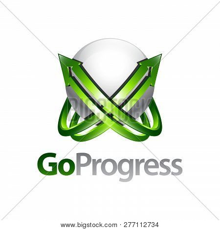 Go Progress Sphere Arrow Up Logo Concept Design Template Idea In Three-dimensional Style