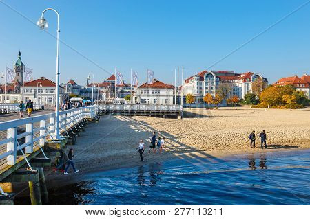 Sopot, Poland, October 13, 2018: View Of  The Longest Wooden Pier In Europe. The Sopot Pier Was Buil