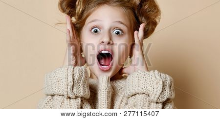 Wow. Beautiful Female Portrait Isolated On Nude Studio Background. Young Emotional Surprised Teen Gi