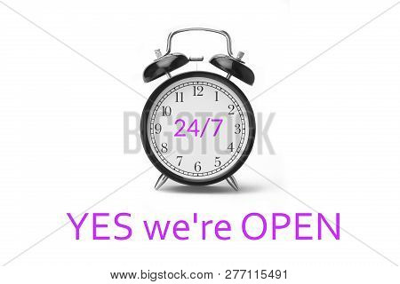 Yes We're Open Sign In Magenta And White, On Shop Glass Door