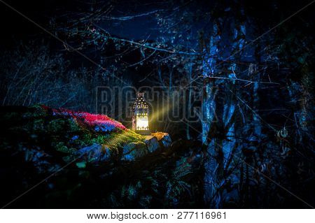 Beautiful Colorful Illuminated Lamp In The Garden In Misty Night. Retro Style Lantern At Night Outdo