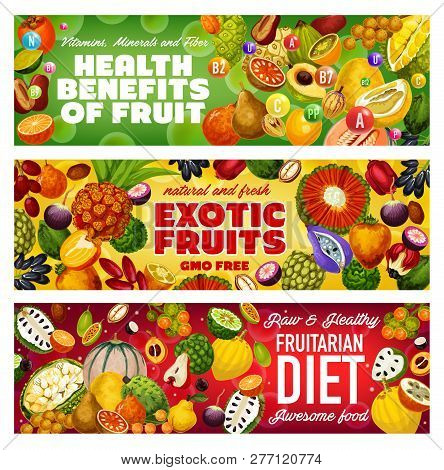Tropical Fruits Of Fruitarian Diet, Exotic Berries And Raw Vegetarian Food Health Benefits. Vector C
