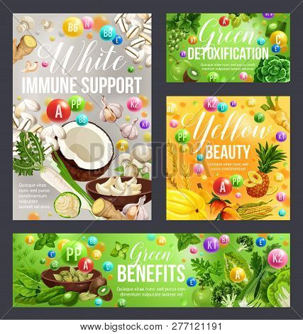 Color Diet Health Benefits Of White, Green And Yellow Food. Vitamin Fruits And Vegetables, Spices, H