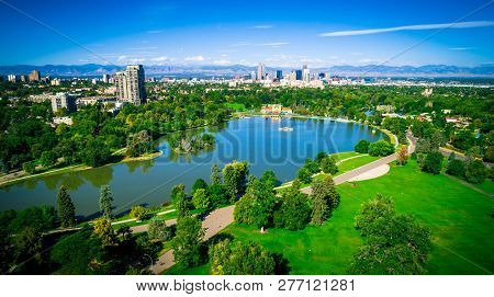 City Park Lake Aerial Drone Summer Green Landscape In The Rocky Mountain City - Green Summer Citysca