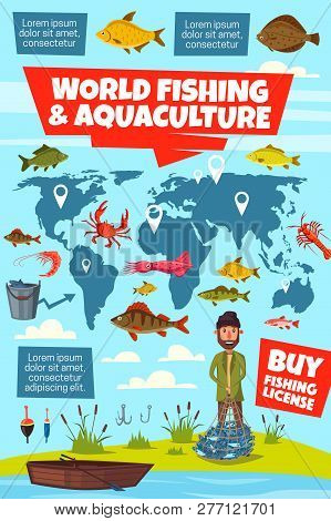 World Fishing And Aquaculture Vector Infographics. Fisheries Map With Fish Stocks Pointers, Fisherma