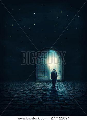 Old man going to the open door