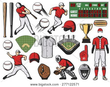 Baseball Sport Team Players And Softball Game Items. Bats, Balls And Base, Trophy Cup, Stadium Field