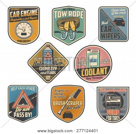 Car accessories retro badges with auto parts of vehicle repair service and auto shop. Motor oil, automobile engine coolant and wipers, tow rope, tire air compressor and speedometer vector icons design poster