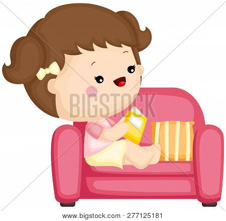 A Vector Set Of A Cute Little Girl Sitting And Reading Book On Couch