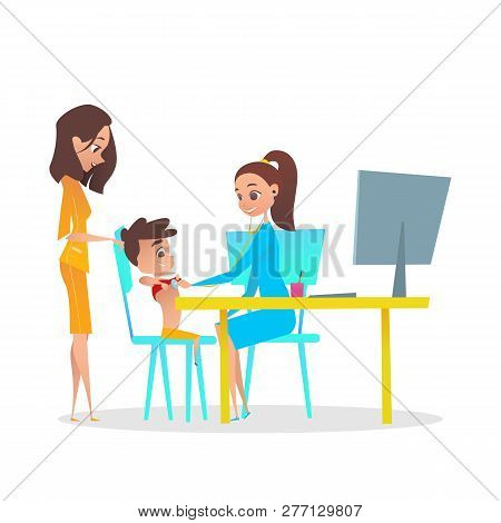 Pediatric Heart Checkup and Diagnosis Illustration. Mom with Boy Kid in Pediatrician Doctor Hospital Room. Female Doc Examining Patient with Stethoscope. Fun Flat Cartoon Characters. poster