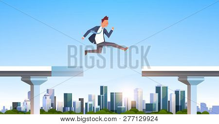 Businessman Jumping Over Gap Broken Bridge Abyss Business Man Leaping Between Two Parts Highway Mode