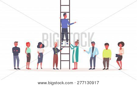 Business People Holding Staircase Businessman Climbing Career Ladder Teamwork Strategy Leadership Co