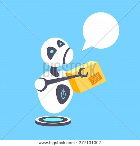 Tired Courier Robot Holding Cardboard Parcel Box Delivery Service Artificial Intelligence Robotic Te