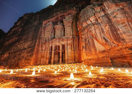 Petra By Night, Treasury Ancient Architecture In Canyon, Petra In Jordan. 7 Wonders Travel Destinati