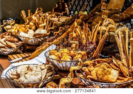 Bread Bar Station Buffet Catering, Close-up Assortment Of Fresh Pastry On Table Pastry Buffet Set Fo