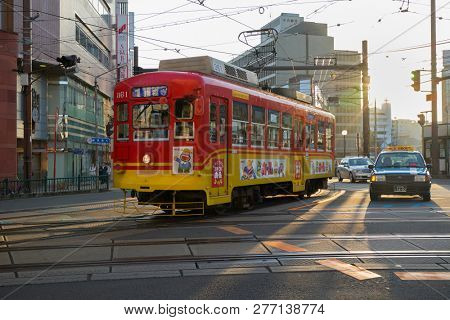 Nagasaki, Japan - October 25, 2018: Retro electric streetcar in Nagasaki