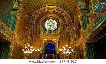 Prague, Czch Republic - January 2, 2019: Inside The Spanish Synagogue At Josefov (the Jewish Quarter
